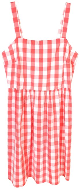 Item - Pink V Neck Seersucker Gingham Sleeveless Spring Picnic Short Casual Dress Size 4 (S)