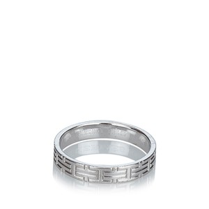 Hermès Hermes Silver 18K White Gold Metal Kilim Ring France w Box SMALL - item med img