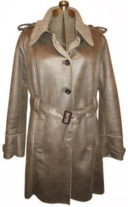 Christopher & Banks Distressed Faux Leather Faux Fur Belted Onm004 Trench Coat