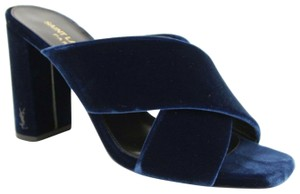 Saint Laurent Women's Velvet Loulou 95 Blue Sandals