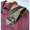 Dior Multi Black Red Taupe Marigold Olive Green Vintage Trending Italian Silk Abstract Leaf Print Tie/Bowtie Dior Multi Black Red Taupe Marigold Olive Green Vintage Trending Italian Silk Abstract Leaf Print Tie/Bowtie Image 1