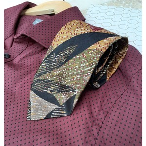 Dior Multi Black Red Taupe Marigold Olive Green Vintage Trending Italian Silk Abstract Leaf Print Tie/Bowtie