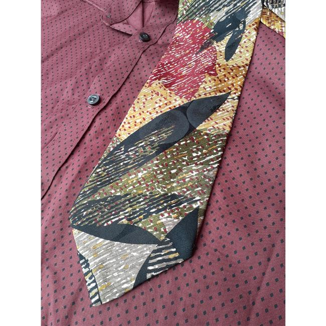 Dior Multi Black Red Taupe Marigold Olive Green Vintage Trending Italian Silk Abstract Leaf Print Tie/Bowtie Dior Multi Black Red Taupe Marigold Olive Green Vintage Trending Italian Silk Abstract Leaf Print Tie/Bowtie Image 5