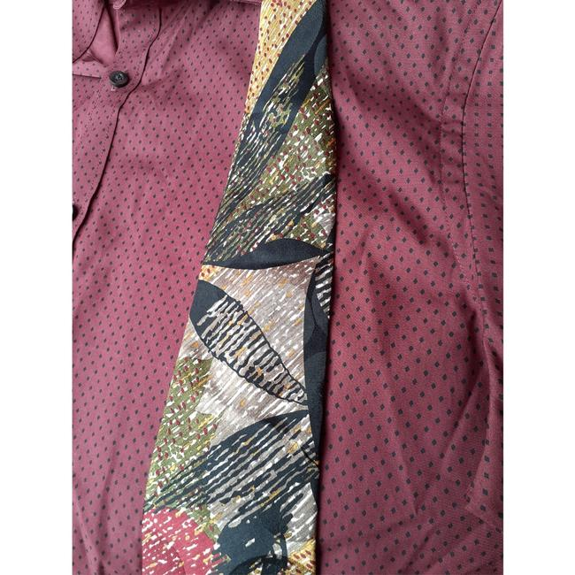 Dior Multi Black Red Taupe Marigold Olive Green Vintage Trending Italian Silk Abstract Leaf Print Tie/Bowtie Dior Multi Black Red Taupe Marigold Olive Green Vintage Trending Italian Silk Abstract Leaf Print Tie/Bowtie Image 6