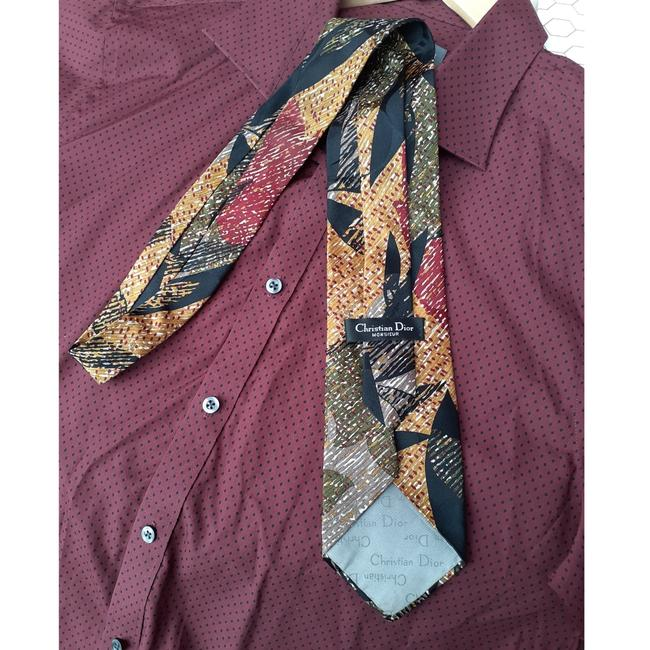 Dior Multi Black Red Taupe Marigold Olive Green Vintage Trending Italian Silk Abstract Leaf Print Tie/Bowtie Dior Multi Black Red Taupe Marigold Olive Green Vintage Trending Italian Silk Abstract Leaf Print Tie/Bowtie Image 7