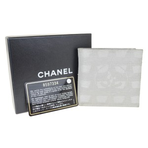 Chanel Authentic CHANEL New Travel Line Bifold Wallet Leather Jacquard Gray