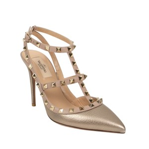 Valentino Studded Caged Ankle Strap Pointed Toe Leather Gold Pumps