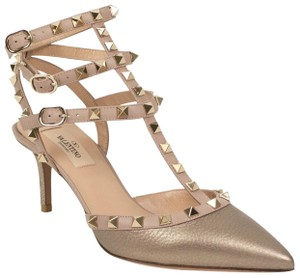 Valentino Studded Caged Ankle Strap Pointed Toe Suede Pink Pumps