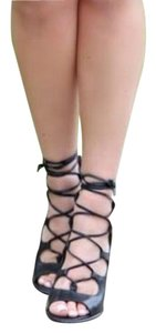 Coach Lace Up Booties Caged Lace Up Heels Sexy Black Pumps
