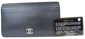 Chanel Authentic CHANEL CC Long Bifold Wallet Purse Leather Black Italy Vinta