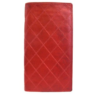 Chanel Authentic CHANEL Long Quilted Bifold Wallet Purse Leather Red Vintage