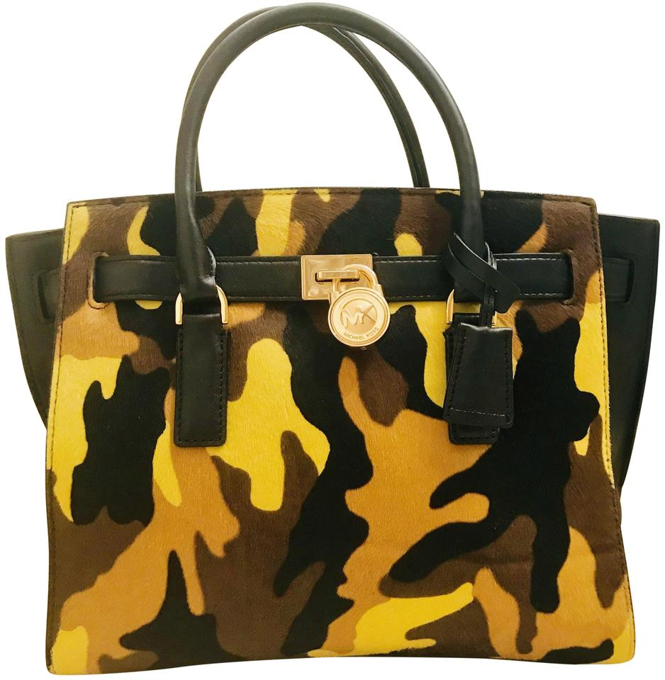 Michael Kors Crossbody Hamilton Traveler Large Calfhair Tote Camo Acid Yellow Black Haircalf Fur Leather Satchel 45% off retail