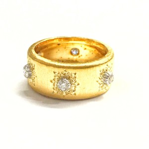BUCCELLATI GORGEOUS!! GREAT CONDITION!! Buccellati 18 Karat Yellow and White Gold Diamond Macri Enternelle Band