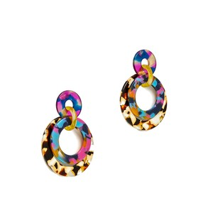 Lele Sadoughi Set of 2 Pairs - Lele Sadoughi Jungle Peach Banded Hoop Drop Earrings