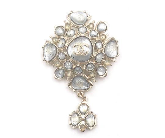 Chanel Chanel Gold CC Light Grey Spotty Stone Dangle Brooch Image 0
