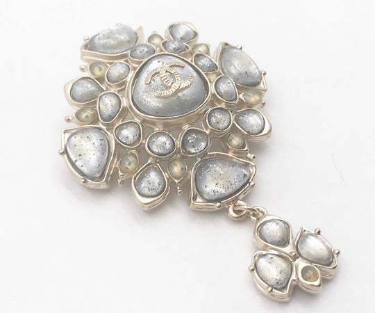 Chanel Chanel Gold CC Light Grey Spotty Stone Dangle Brooch Image 1