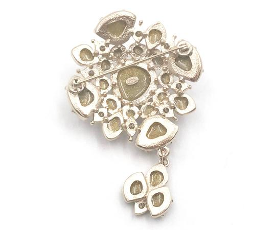 Chanel Chanel Gold CC Light Grey Spotty Stone Dangle Brooch Image 2