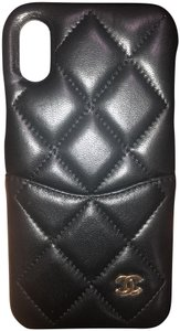 Chanel Chanel Logo Lambskin Quilted iPhone X black