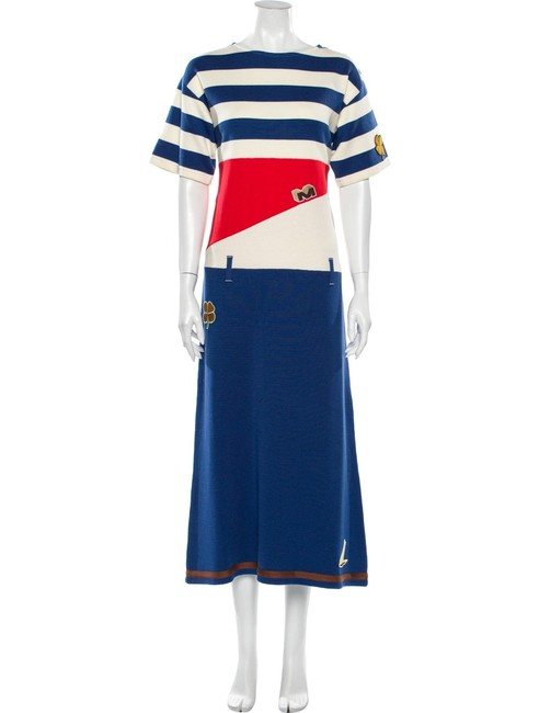 Marni Blue Red White Multiple 38 In Italy Knitted Embroidered Mid-length Night Out Dress Size 8 (M) Marni Blue Red White Multiple 38 In Italy Knitted Embroidered Mid-length Night Out Dress Size 8 (M) Image 1