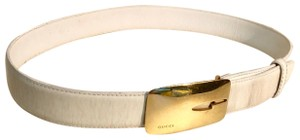"Gucci Gucci Gold Tone Buckle White Leather Belt M (Length 29""to 31"