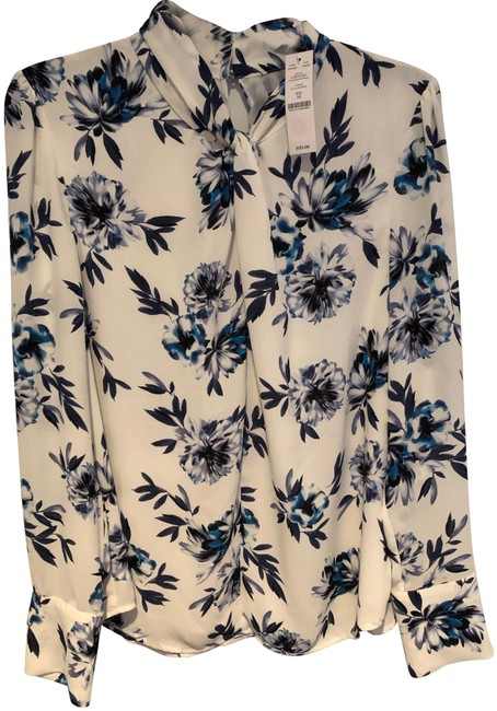Item - and Navy Floral-print Knotted-neck Blouse Size 8 (M)