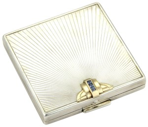 Tiffany & Co. Sterling Silver & 14K Yellow Gold Sapphire Gem Makeup Compact