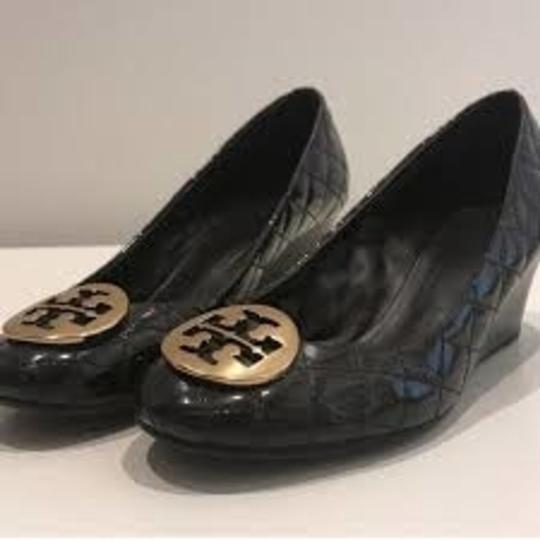Tory Burch Never Worn Quilting black patent Wedges Image 2