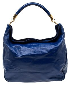 Saint Laurent Paris Patent Leather Hobo Bag