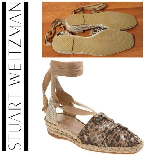Stuart Weitzman Gold Ankle Wrap Leather Espadrill Cheetah Sandals Image 1