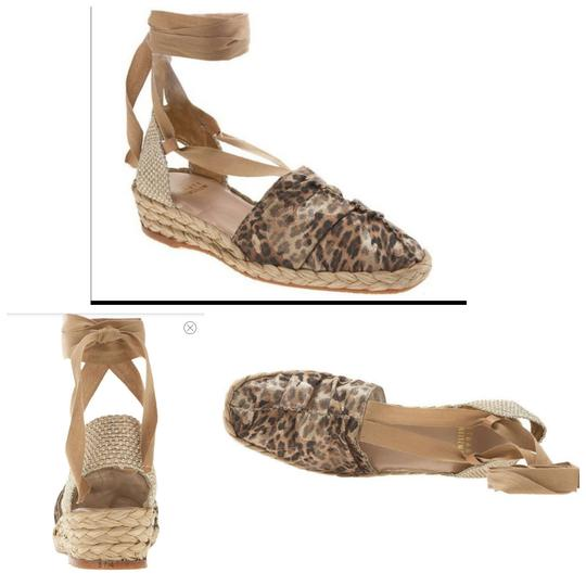 Stuart Weitzman Gold Ankle Wrap Leather Espadrill Cheetah Sandals Image 2