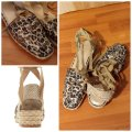 Stuart Weitzman Gold Ankle Wrap Leather Espadrill Cheetah Sandals Image 3