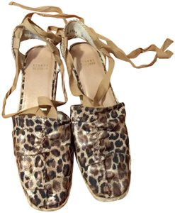 Stuart Weitzman Gold Ankle Wrap Leather Espadrill Cheetah Sandals