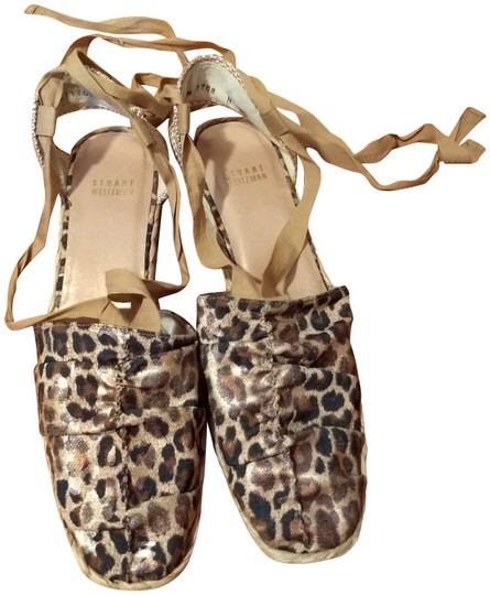 Stuart Weitzman Gold Ankle Wrap Leather Espadrill Cheetah Sandals Image 0