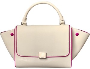 Céline Trapeze Small Trapeze Trapeze Trapeze Satchel in White with Magenta Trim