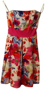 A.P.N.Y. short dress watercolor Strapless Bow on Tradesy