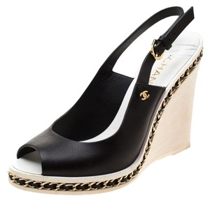 Chanel Leather Chain Wedge Slingback Black Sandals