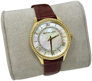 Michael Kors NEW Women's Lauryn Three-Hand Red Leather Watch MK2756