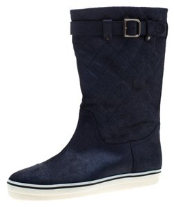 Chanel Textured Quilted Leather Blue Boots