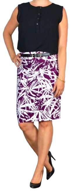 Item - Plum and White Palm Leaf Print Pencil Skirt Size 6 (S, 28)