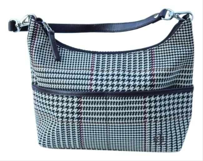 Item - Houndstooth Brown Cream Canvas & Leather Hobo Bag