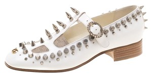 Gucci Leather Canvas Spike Embellished White Pumps
