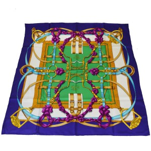 "Hermès HERMES Logos XL JUMBO ""Grand Manage"" Carre Scarf Handkerchief Silk"