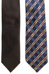 Valentino Valentino Lot of 2 Silk Ties - Black and Blue