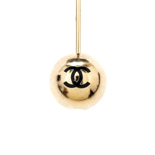 Chanel Chanel Camellia Blue Tweed Gold Tone Brooch Image 3
