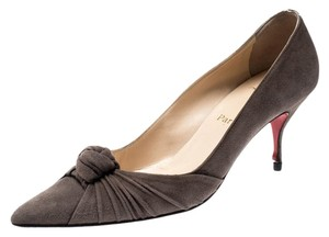 Christian Louboutin Suede Leather Grey Pumps