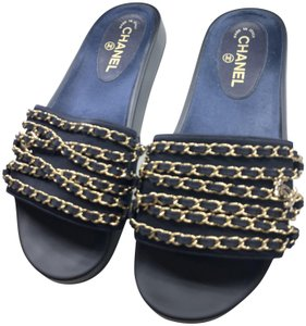 Chanel Navy Mules