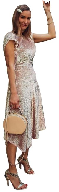 Item - Beige / Gold Conscious Exclusive Sequin Long Casual Maxi Dress Size 12 (L)