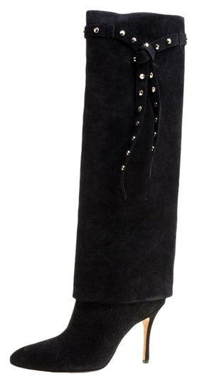 Valentino Suede Leather Rockstud Black Boots Image 0