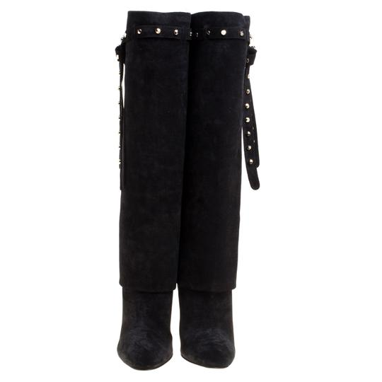 Valentino Suede Leather Rockstud Black Boots Image 1