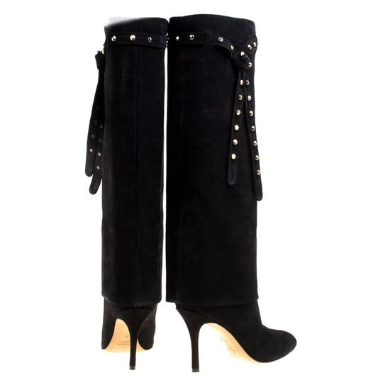Valentino Suede Leather Rockstud Black Boots Image 2